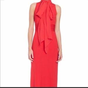 Red full length Aidan Mattox dress